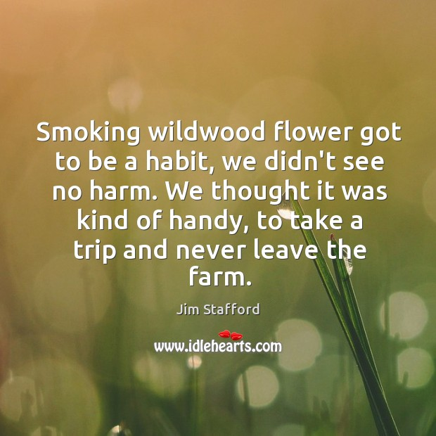 Smoking wildwood flower got to be a habit, we didn't see no Image