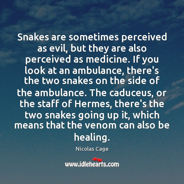 Snakes are sometimes perceived as evil, but they are also perceived as Nicolas Cage Picture Quote