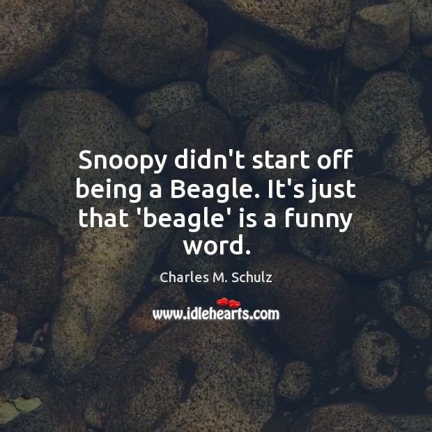 Snoopy didn't start off being a Beagle. It's just that 'beagle' is a funny word. Image
