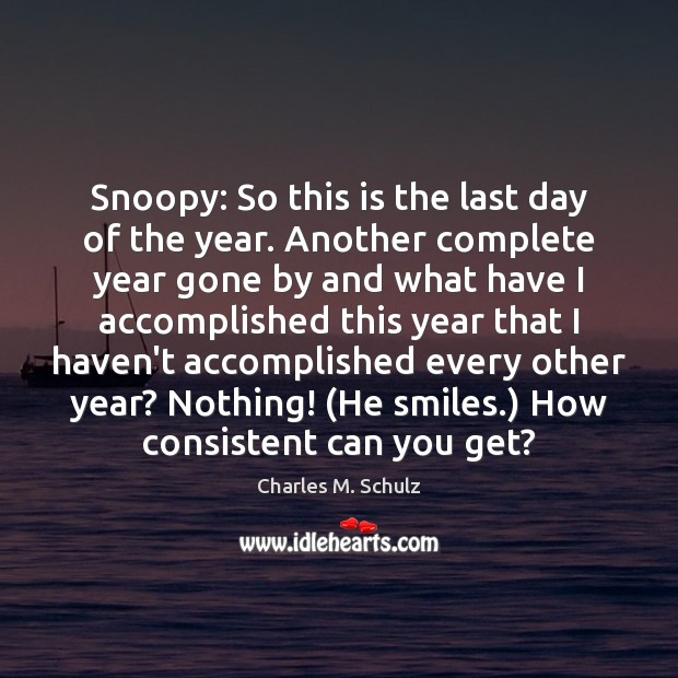 Image, Snoopy: So this is the last day of the year. Another complete