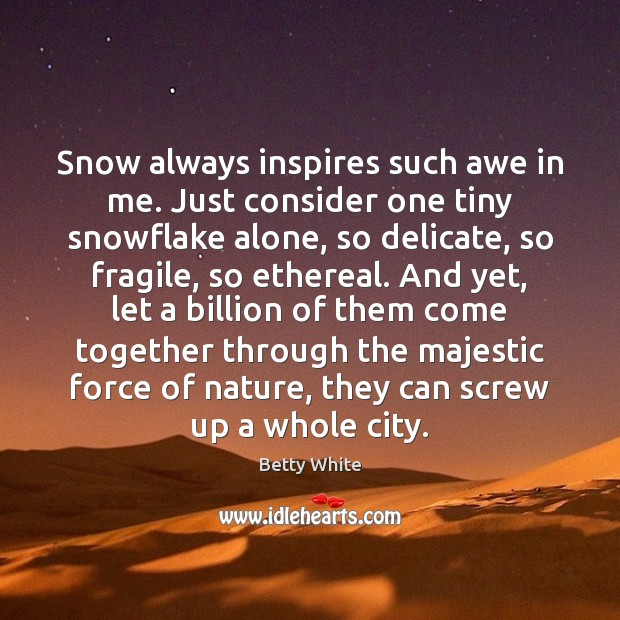 Snow always inspires such awe in me. Just consider one tiny snowflake Image
