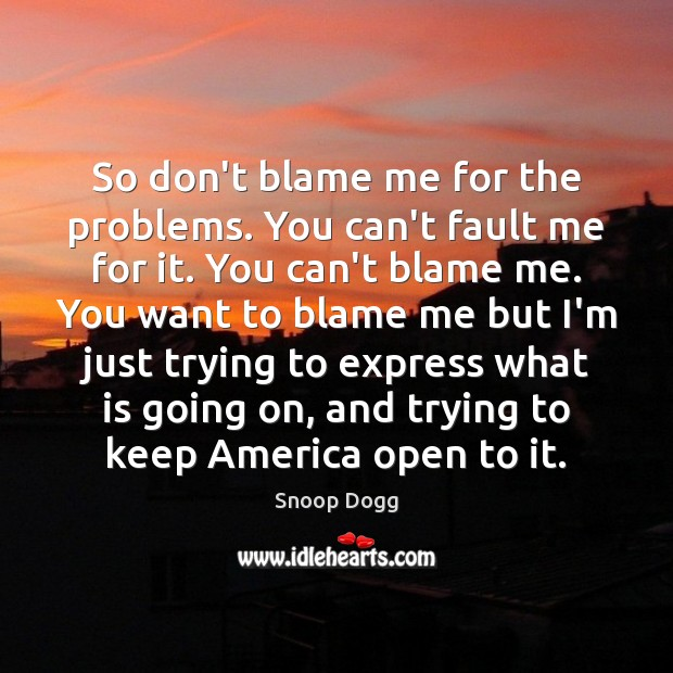 So don't blame me for the problems. You can't fault me for Snoop Dogg Picture Quote