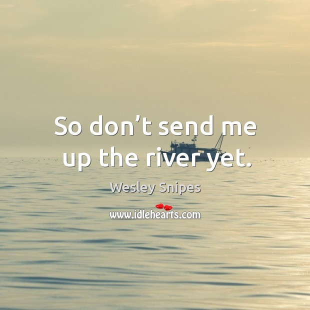 So don't send me up the river yet. Wesley Snipes Picture Quote