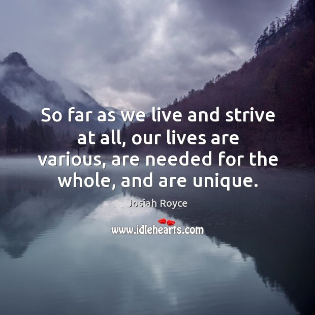 So far as we live and strive at all, our lives are various, are needed for the whole, and are unique. Josiah Royce Picture Quote