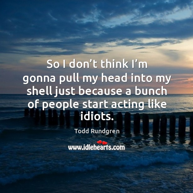 So I don't think I'm gonna pull my head into my shell just because a bunch of people start acting like idiots. Todd Rundgren Picture Quote