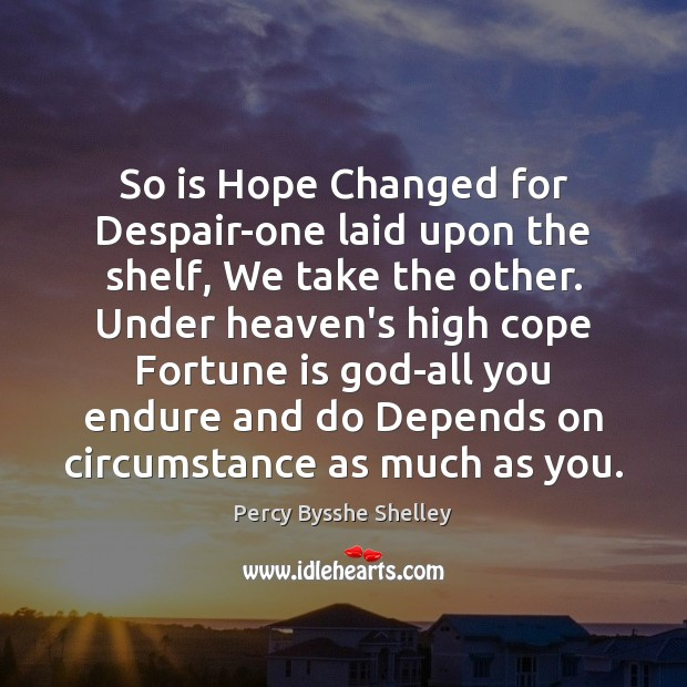 So is Hope Changed for Despair-one laid upon the shelf, We take Percy Bysshe Shelley Picture Quote