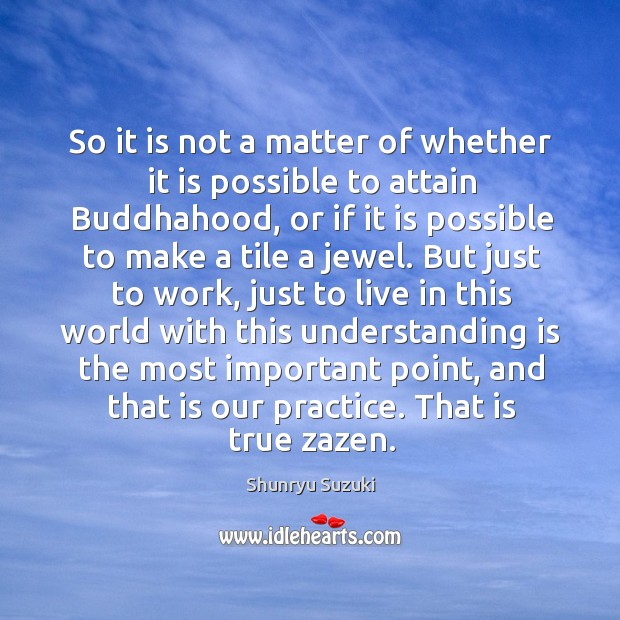 So it is not a matter of whether it is possible to Shunryu Suzuki Picture Quote