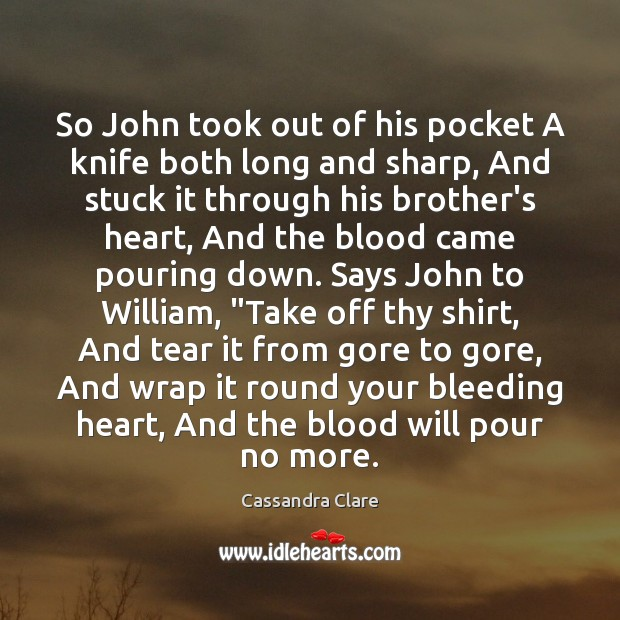 So John took out of his pocket A knife both long and Image