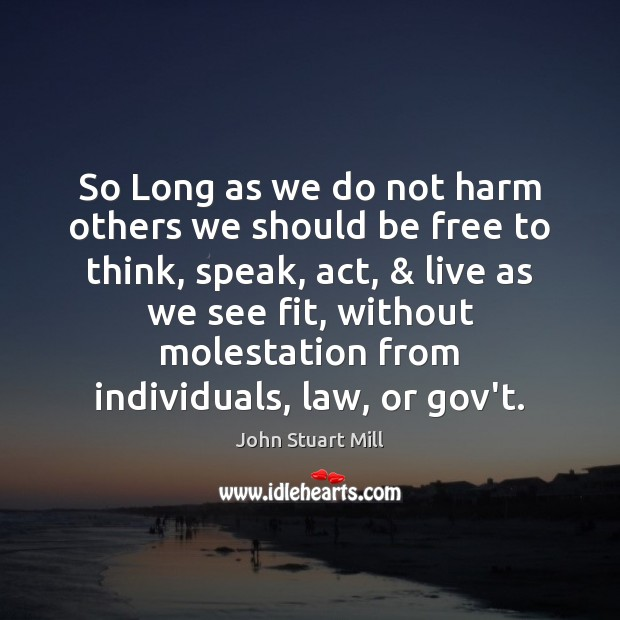 So Long as we do not harm others we should be free John Stuart Mill Picture Quote