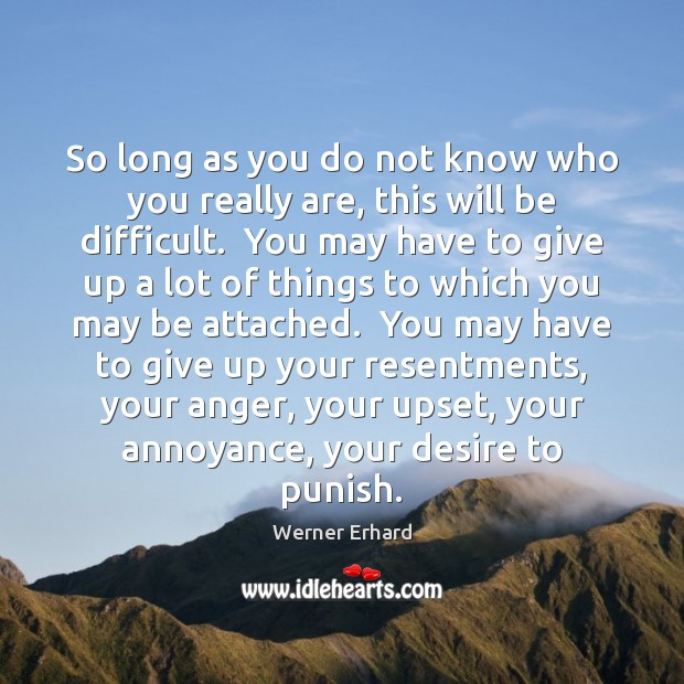 So long as you do not know who you really are, this Werner Erhard Picture Quote