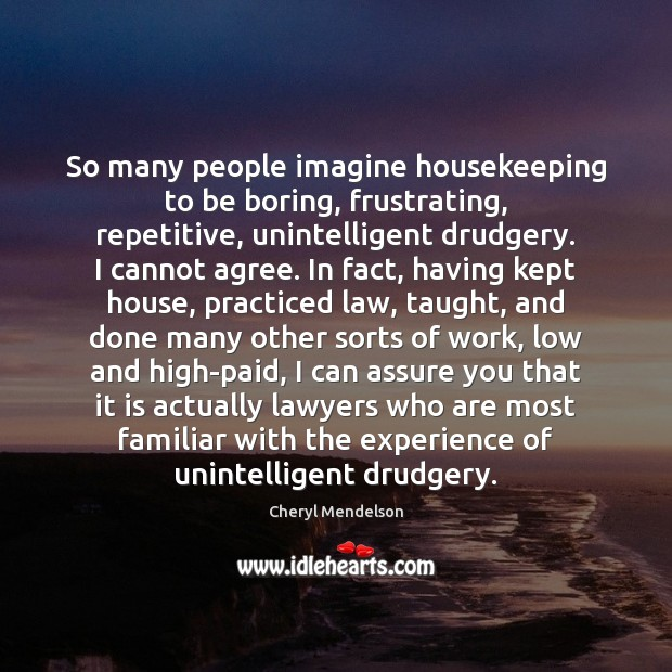 So many people imagine housekeeping to be boring, frustrating, repetitive, unintelligent drudgery. Image