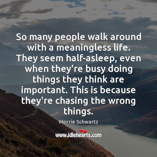 So many people walk around with a meaningless life. They seem half-asleep, Morrie Schwartz Picture Quote