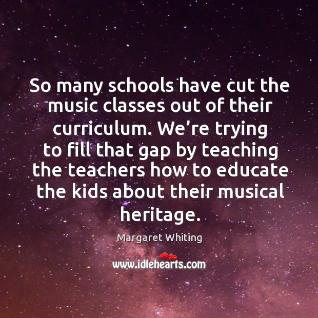 So many schools have cut the music classes out of their curriculum. Image
