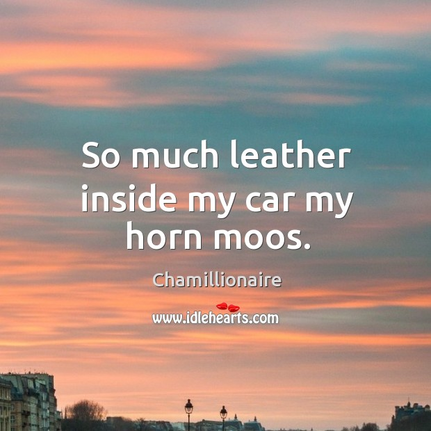 So much leather inside my car my horn moos. Image