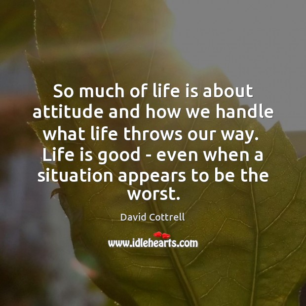 So much of life is about attitude and how we handle what David Cottrell Picture Quote