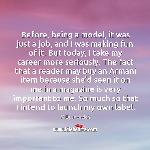 So much so that I intend to launch my own label. Image