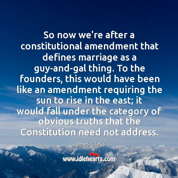 Image, So now we're after a constitutional amendment that defines marriage as a