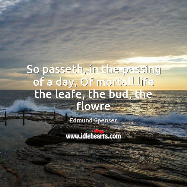 So passeth, in the passing of a day, Of mortall life the leafe, the bud, the flowre Edmund Spenser Picture Quote