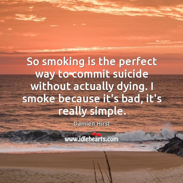 So smoking is the perfect way to commit suicide without actually dying. Smoking Quotes Image