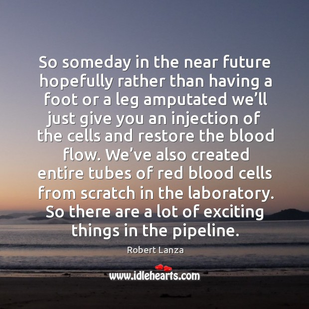 So someday in the near future hopefully rather than having a foot or a leg amputated Robert Lanza Picture Quote