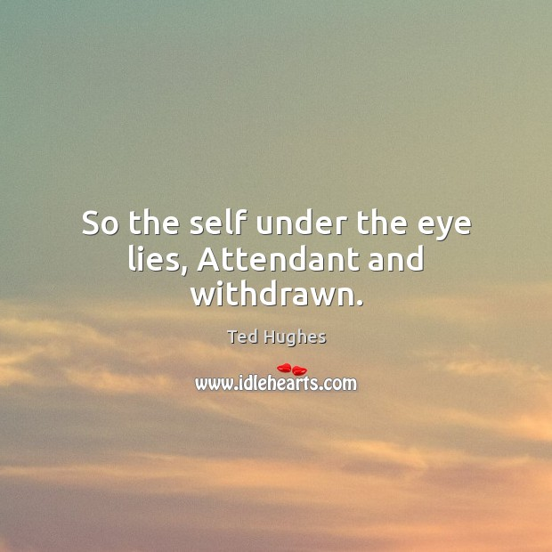So the self under the eye lies, Attendant and withdrawn. Ted Hughes Picture Quote