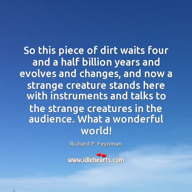 So this piece of dirt waits four and a half billion years Richard P. Feynman Picture Quote