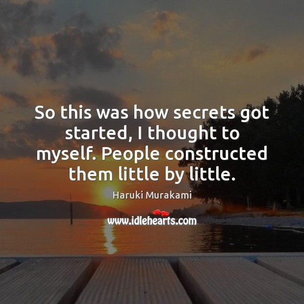 So this was how secrets got started, I thought to myself. People Image