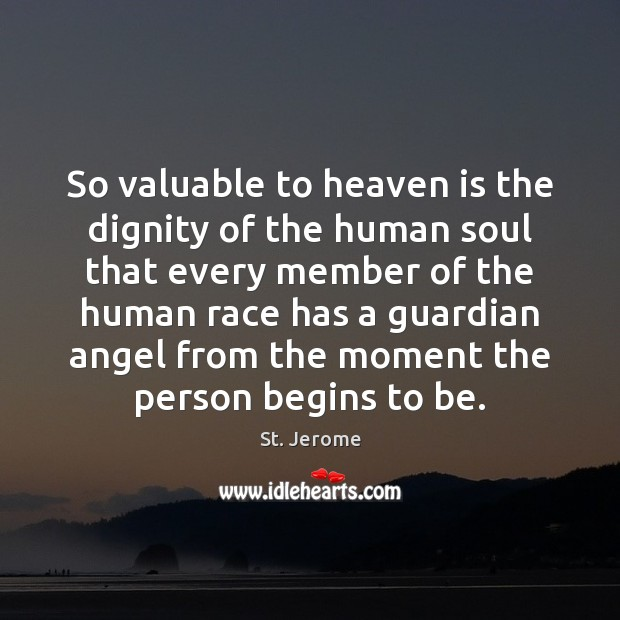 So valuable to heaven is the dignity of the human soul that St. Jerome Picture Quote
