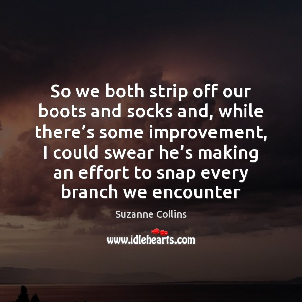 So we both strip off our boots and socks and, while there' Image