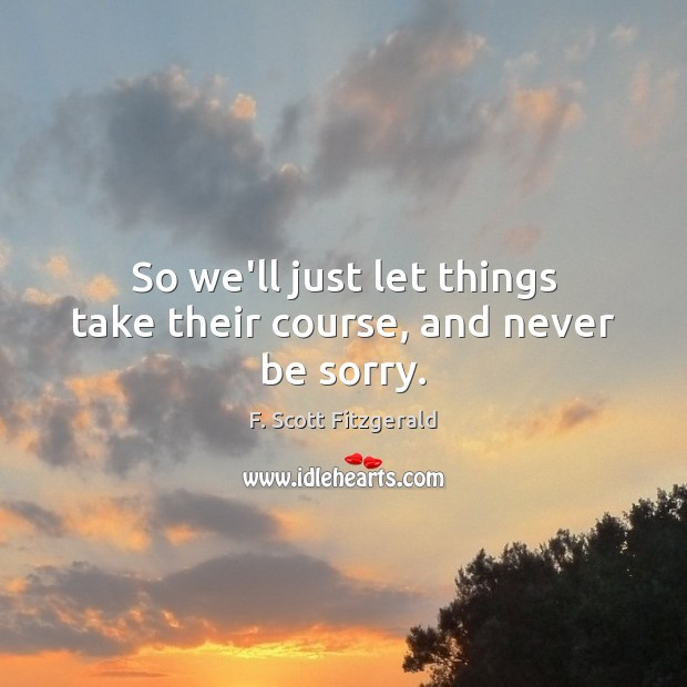 So we'll just let things take their course, and never be sorry. F. Scott Fitzgerald Picture Quote