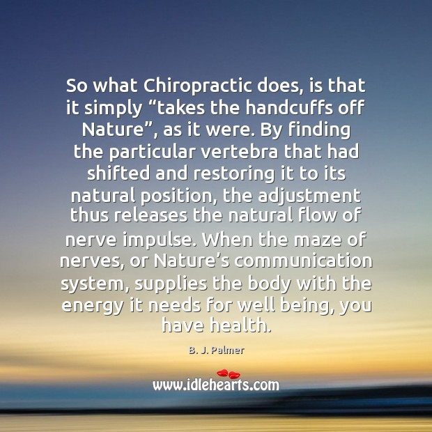 "Image, So what Chiropractic does, is that it simply ""takes the handcuffs off"