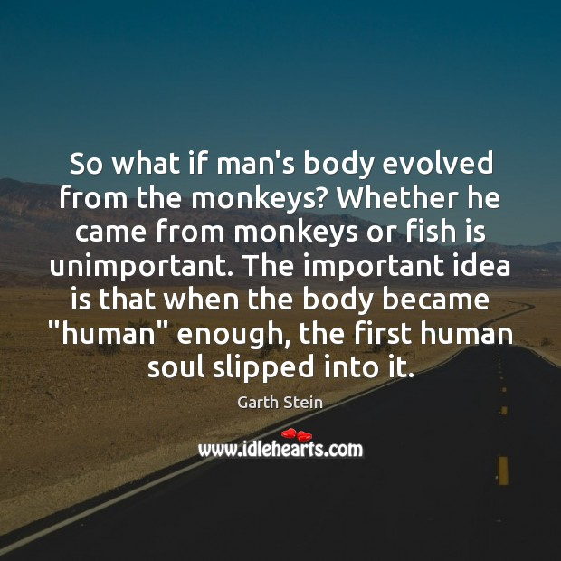 So what if man's body evolved from the monkeys? Whether he came Garth Stein Picture Quote