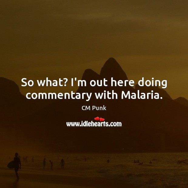 So what? I'm out here doing commentary with Malaria. Image