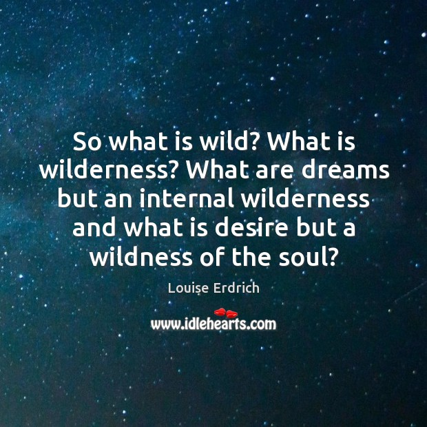 So what is wild? What is wilderness? What are dreams but an Louise Erdrich Picture Quote