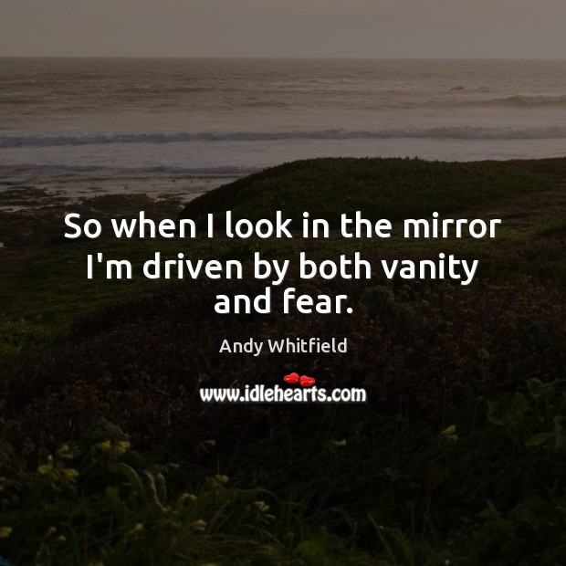 Image, So when I look in the mirror I'm driven by both vanity and fear.