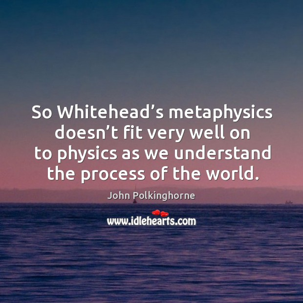 So whitehead's metaphysics doesn't fit very well on to physics as we understand the process of the world. John Polkinghorne Picture Quote