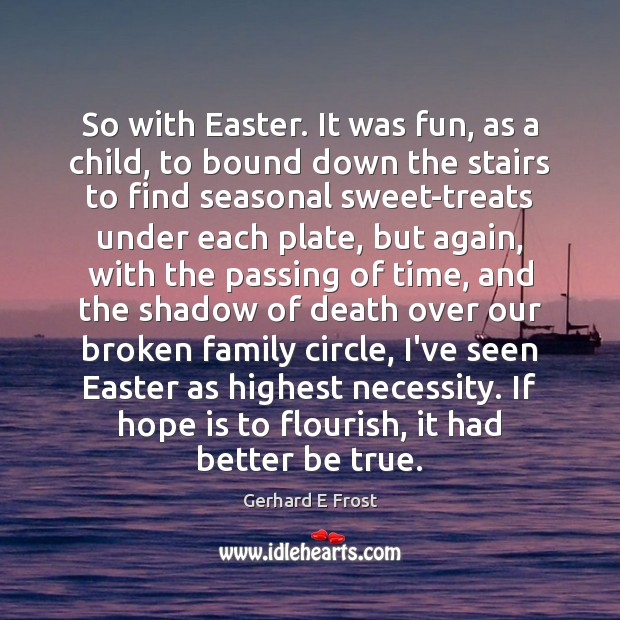 So with Easter. It was fun, as a child, to bound down Easter Quotes Image