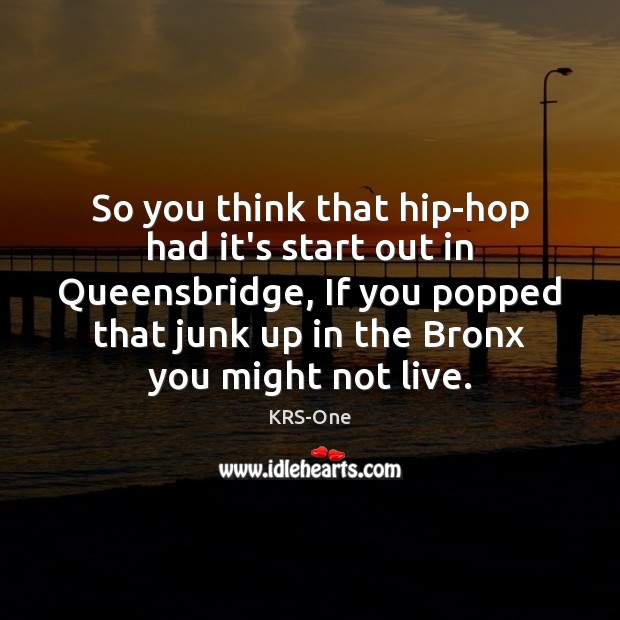 So you think that hip-hop had it's start out in Queensbridge, If KRS-One Picture Quote