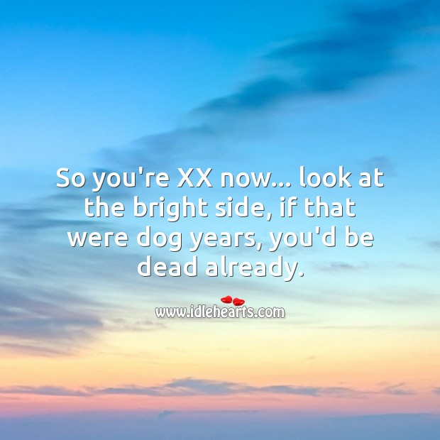 So you're XX now… look at the bright side, if that were dog years, you'd be dead already. Age Birthday Messages Image