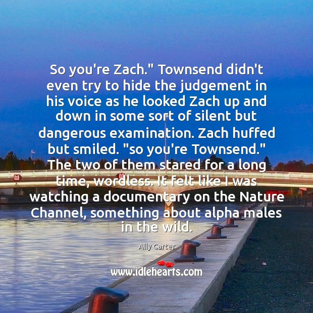 """Image, So you're Zach."""" Townsend didn't even try to hide the judgement in"""