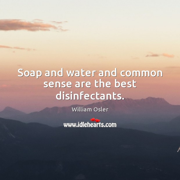 Image, Soap and water and common sense are the best disinfectants.