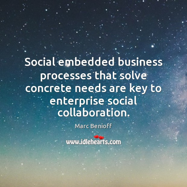 Social embedded business processes that solve concrete needs are key to enterprise Marc Benioff Picture Quote
