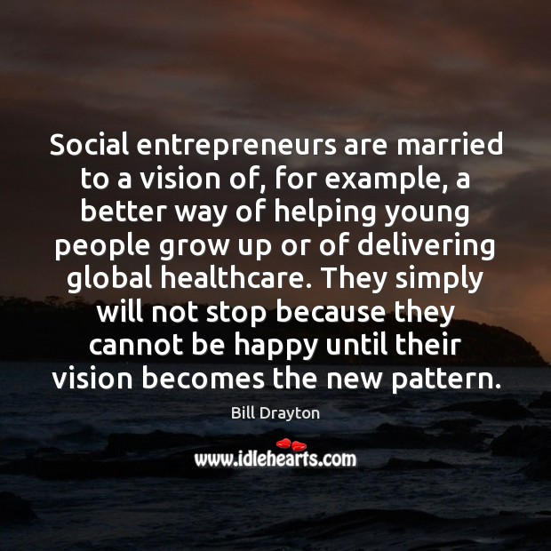 Social entrepreneurs are married to a vision of, for example, a better Entrepreneurship Quotes Image