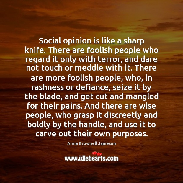 Image, Social opinion is like a sharp knife. There are foolish people who