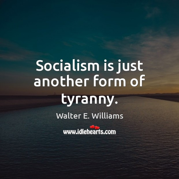 Socialism is just another form of tyranny. Walter E. Williams Picture Quote