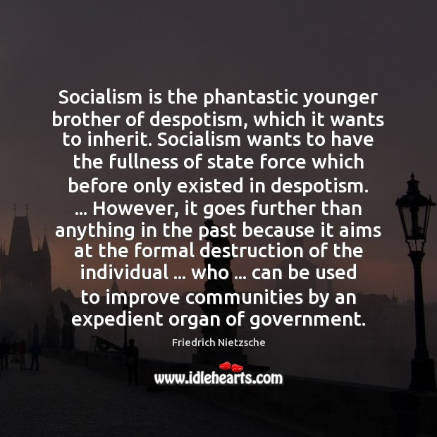 Image, Socialism is the phantastic younger brother of despotism, which it wants to