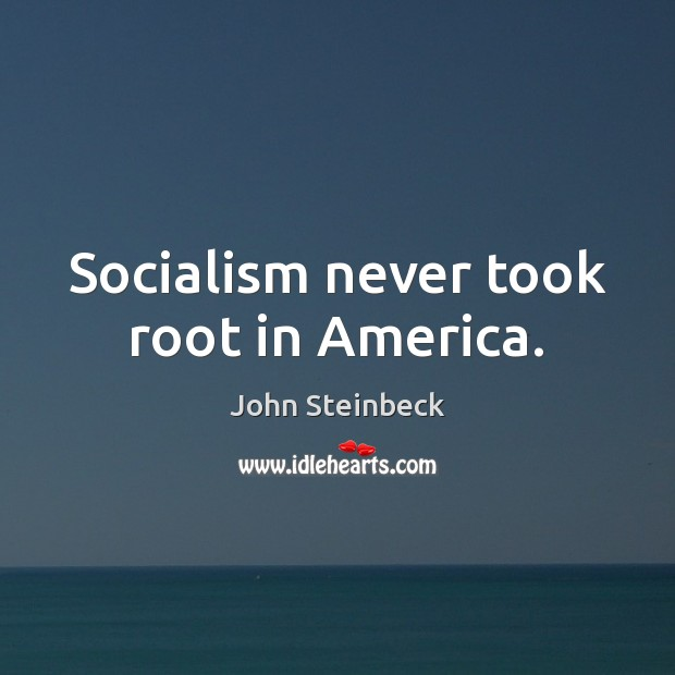 Socialism never took root in America. John Steinbeck Picture Quote