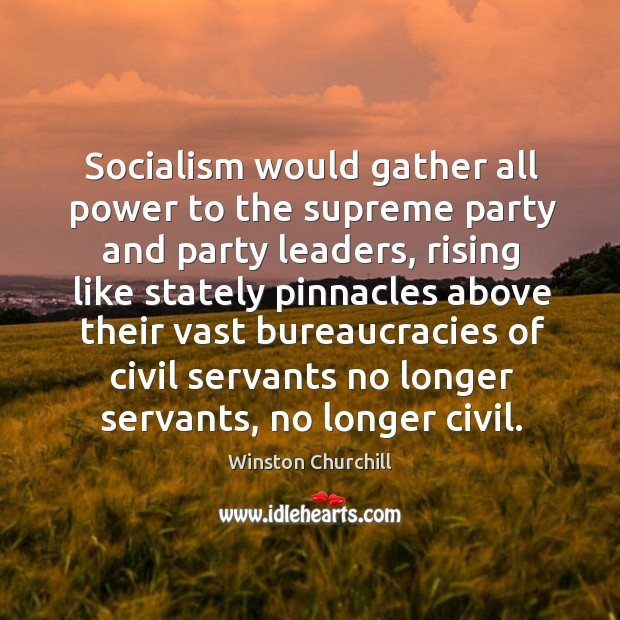 Socialism would gather all power to the supreme party and party leaders, Image