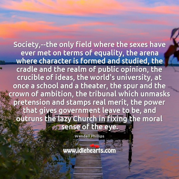 Society,–the only field where the sexes have ever met on terms Wendell Phillips Picture Quote