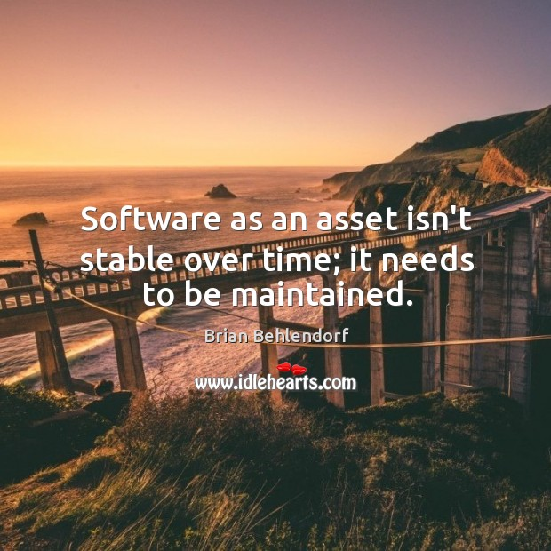 Image, Software as an asset isn't stable over time; it needs to be maintained.